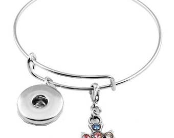 Snap Button Bracelet with Rhinestone Cross Charm