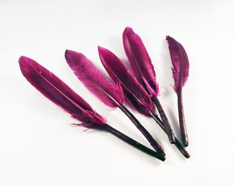 SP51 - Set of 5 synthetic color purple Violet Magenta feathers / 5 parts synthetic purple Violet Fashion Feathers ornaments