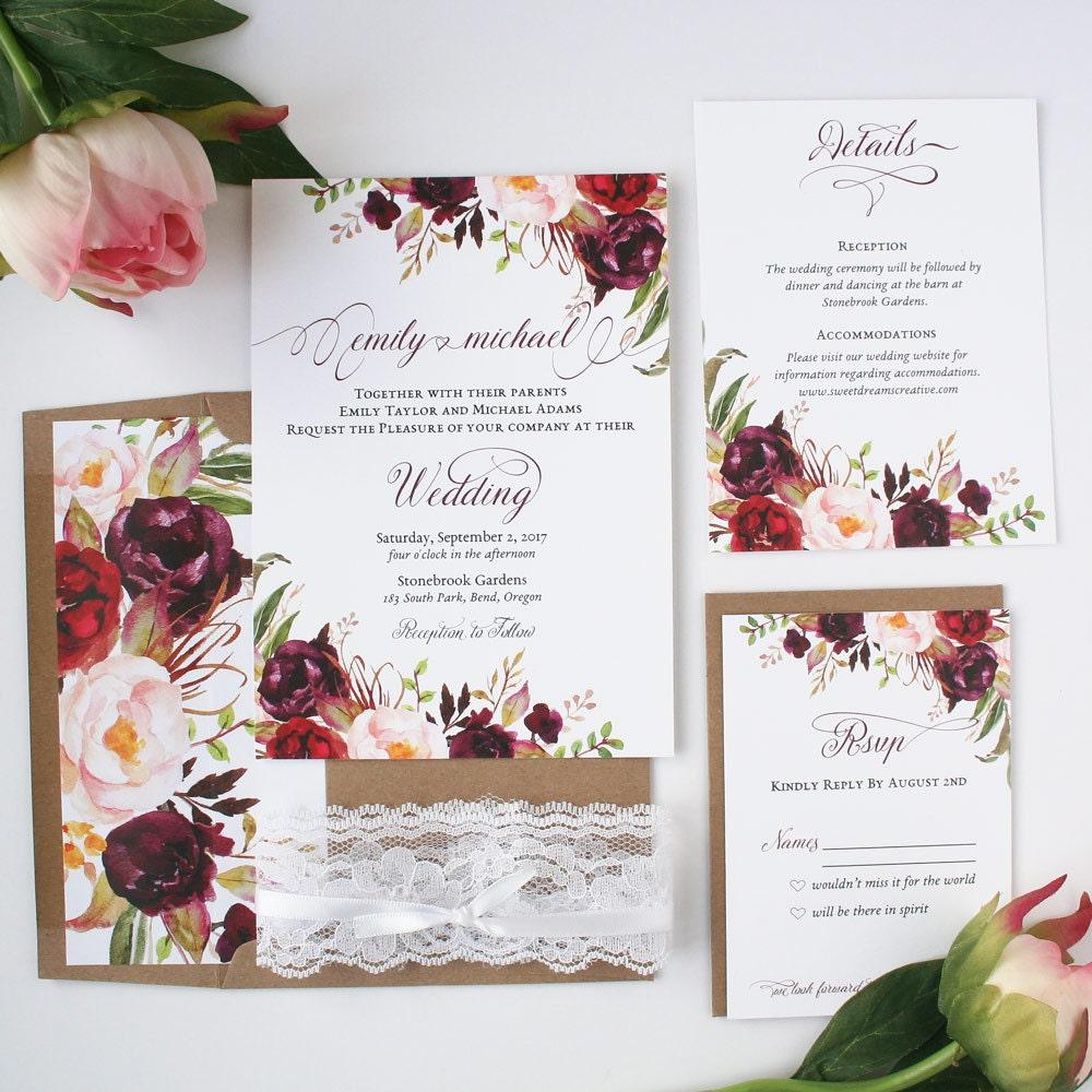 Fall Color Wedding Invitations: Burgundy Wedding Invitations Burgundy & By SweetDreamsCreative