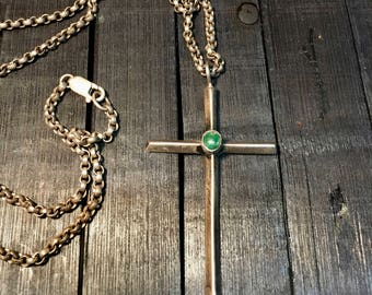 Vintage Navajo Sterling Silver/ Green Gemstone Cross Necklace & Pendant   #233