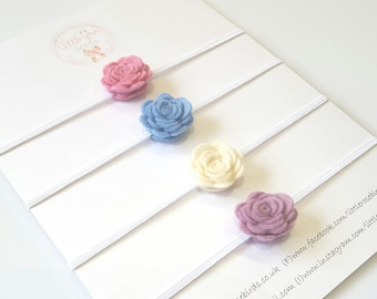 Felt Rose Headband Set - Christening Headband - Flower Girl - Christening - Wedding Hair - Flower Headband - Baby Headband - Flower Crown