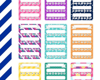 Bright Patterned Trackers, Premium Matte Vinyl, Planner Stickers, Removable, Repositionable, For ECLP & Other Planners, Vinyl Sticker