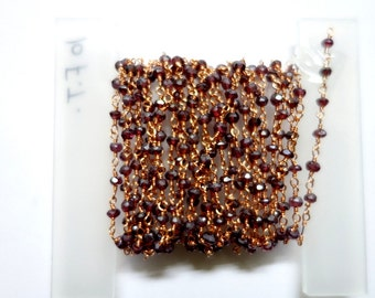 Five Feet Garnet(Coated) Rondelle Beaded Chain , Connected with Copper Plated Chain , Beaded Jewellery