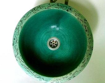 Ikebana turquoise / Ø 32 cm H 12 cm