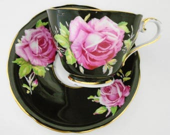 Aynsley large pink rose art deco Glossy Black American Beauty Tea cup and saucer