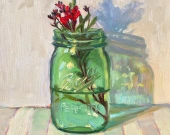 Colorful Mason Jar Still Life Original Oil Painting Wall Art