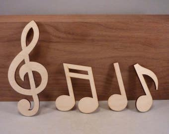 Music - Musical Note - Treble Clef - Double Note - Single Note - Bass Clef - Sharp- Wood Music Note - 10""