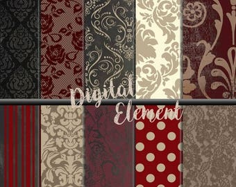 ON SALE Digital Paper, Digital Scrapbook Paper, Romantic Damask and Lace, Red Digital Paper, Photo Texture and Background. No. P148
