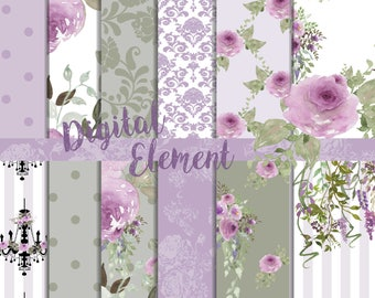 ON SALE Digital Paper, Lilac Floral Scrapbook Paper, Watercolor Peony and Rose Lilac and Sage Paper, Wedding Paper. No. P193
