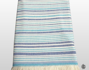 Fouta Beach Towel with Blue and White Stripes