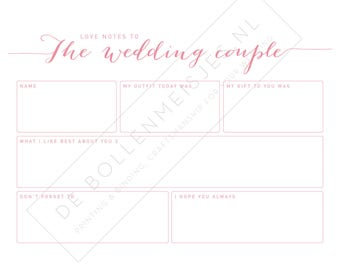 Guest book cards watercolor pink - marriage advice - alternative guest book - gastenboek - bruiloftinvulkaarten