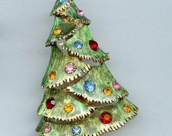 Vintage Christmas Tree Holiday Pin Brooch
