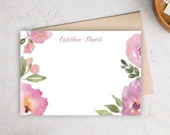 Personalized Stationery   Watercolor Stationery   Personalized Notecards   Mongram Notecards   Note Cards
