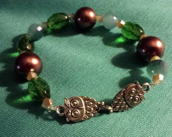 Czech glass beaded owl bracelet