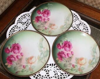 "Porcelain Thomas Sevres Bavaria Plates - ""Achilleion"" Rose SIGNED BLACK & PHILLIPS ~ Set of 3 ~ Green w/ Pink Yellow Roses Mismatch Wedding"