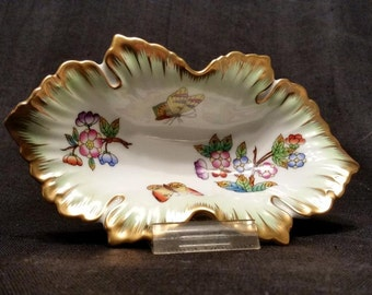 Herend Queen Victoria Hand Painted Porcelain Leaf Dish, 150 Yr Annv. Vintage Ring, Boudoir/Vanity Decor, Trinket Dish, Collectible Herend
