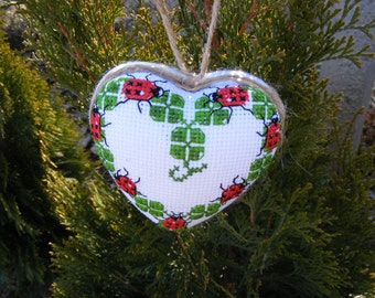 Cross Stitch Luck Embroidered Wall Decor Funny Gift for Him Gift for Her Four Leaf Clover Ladybug Love