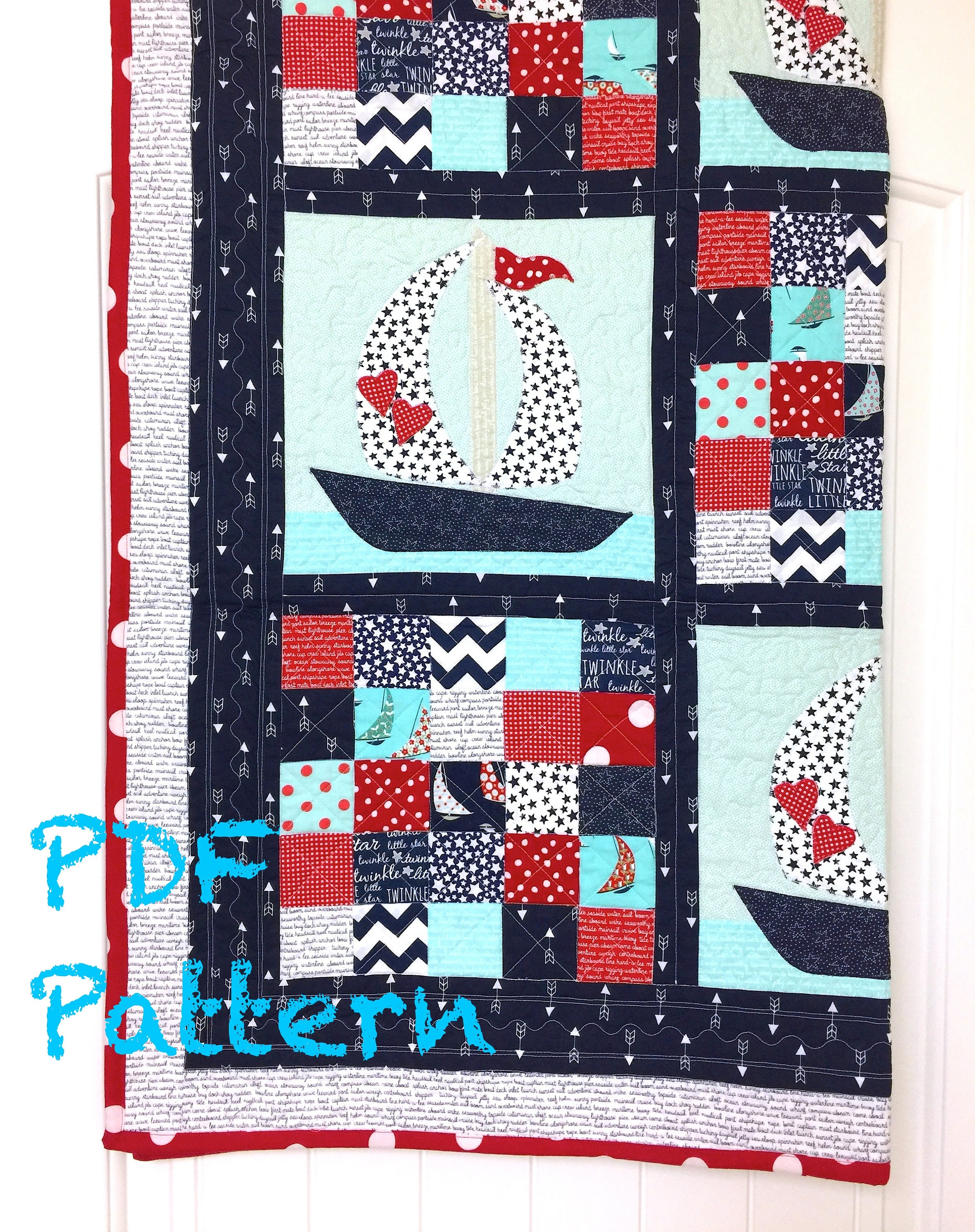 Sailboat Baby Quilt Pattern Quilt Pattern Nautical baby