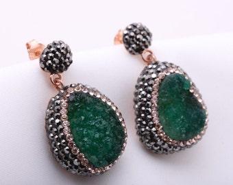 Turkish Handmade Jewelry Natural Green Druzy Marcasite Swarovski Crystals 925 Sterling Silver Earrings