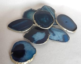 8-10cm Blue Agate Stone Coasters with Gold edge-set of 2, 4, 6, 8, 10 luxury home decor