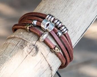Bangles Bracelet // Multi Strand Leather Bracelet // Leather Multi Strand Bracelet // Mens Leather Bracelet // Leather Bangles Bracelet
