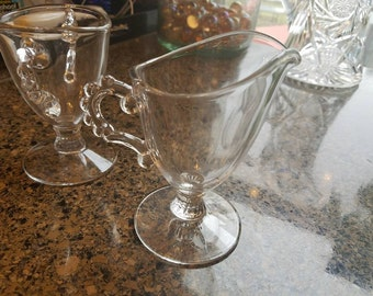Imperial Glass Clear Candelwick Cream and Sugar