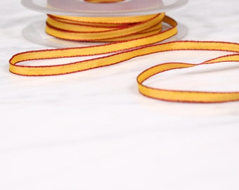 9 m 5mm, polyester, red and yellow ribbon, (4628)