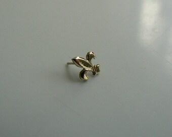"""14 k gold threadless end """"French Lily"""" """"Fleur-de-Lis"""""""