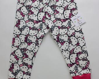 hello kitty leggings,hello kitty pants,baby cat leggings,toddler cat leggings,hello kitty outfit,hello kitty clothes,pink kitty pants