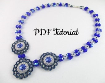 "Crystal Pattern, Beaded Necklace, DIY Necklace, Beaded Bezels, PDF Tutorial, Seed Bead Pattern, Beaded Tutorial, ""Ice Queen"" Necklace"