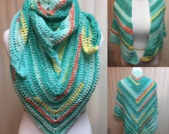Crochet Shawl, Green Shawl, Green Wrap, Triangle Scarf, Mint Green Shawl, Mint Green Wrap, Crocheted Shawl, Crochet Wrap, Shawl Wrap