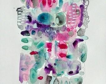Original painting on paper. Pastel colors