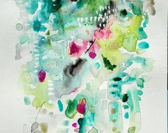 Spring. Watercolor on paper. Painting original.