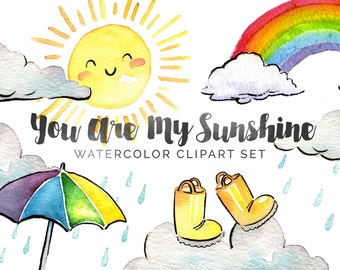 You Are My Sunshine Watercolor Clipart - INSTANT DOWNLOAD - High Res, PNG, Printable and Cute! For stationery, nurseries and baby showers