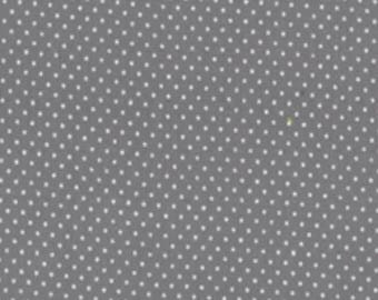 Quilting Cotton Fabric - Micro Dots on Grey/White Spots on Grey