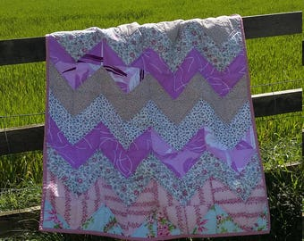Handmade baby girl vintage floral zigzag quilt with fleece back, light weighed
