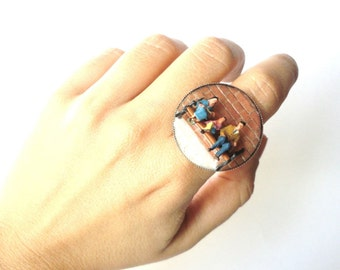 family ring, resin ring, contemporary ring, adjustable ring, miniatures, bench