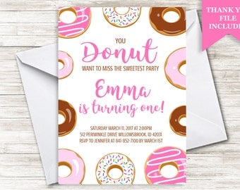 Donut Invitation Girls Invite 5x7 Digital Sprinkles ANY AGE Personalized Doughnuts Pink Brown