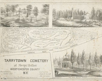 1848 Map of Tarrytown Cemetery Sleepy Hollow West Chester County NY