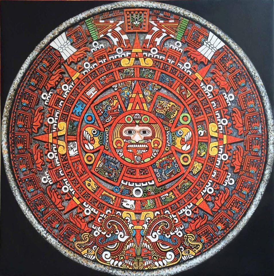 original aztec painting 36x36 aztec calendar oil