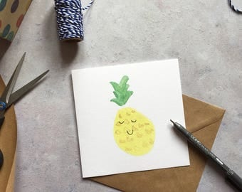 Happy pineapple - cute fruit, foodie, quirky, thank you, cheer up, congratulations, greeting card