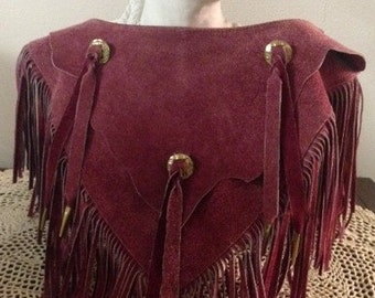 1970s Burgundy/Mauve Suede Western Style Collar with Gold Conchas and Fringe, made by Pioneer Wear in Albuquerque. A showstopper!
