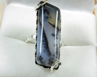 Sterling Silver 925 Ring, Agate Stone, Statement Ring