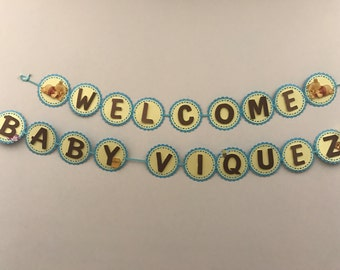 Winnie the Pooh baby shower welcome banner, baby shower decoration, pooh baby shower decoration