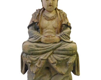 Chinese Handcrafted Rustic Wood Sitting Kwan Yin Statue cs1674E