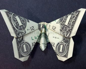 BUTTERFLY Money Origami Insect Animal Dollar Bill Cash Sculptors Bank Note Handmade Dinero