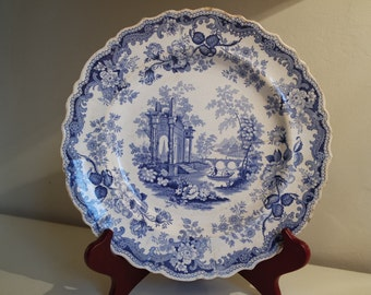 """Historical Staffordshire  """"Athens""""  blue  plate England by Adams, Lockart, Height and Rogers circa 1849"""