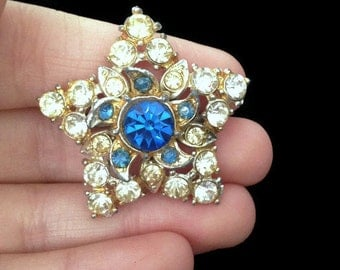 Star Brooch - Stars - Star - Blue - Blue Brooch - Rhinestone - Vintage - Big Chunky Jewelry - Large Chunky Jewelry - Jewellery - Holiday