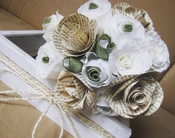 Bridal Wedding Paper Bouquet 15pcs, vintage paper flower, bridesmaids