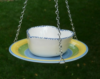 Bowl and Plate Bird Feeder, Blue Edged Heart